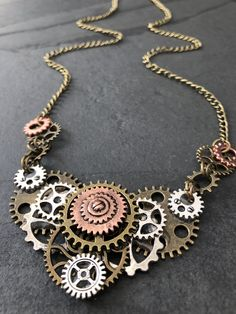 Long Steampunk Bicycle Gear Necklace / Bicycle Necklace, Bike Necklace, Watch Gears, Bike Jewelry, Industrial Jewelry, Steampunk Clothing, Bike Gift Steampunk Bicycle, Steampunk Gears, Steampunk Clothing, Steampunk Fashion, Watch Necklace, Pendant Necklace, Gifts For Triathletes, Watch Gears, Industrial Jewelry