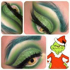 Best Naughty And Inappropriate Ugly Christmas Sweaters For Dirty Minds Grinch makeup! Grinch Christmas Party, Christmas Costumes, Disney Christmas, Christmas Scenes, Party Makeup, Eye Makeup, Ugly Makeup, Witch Makeup, Makeup Salon