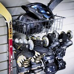 The Skate Rack and Storage Basket by Schulte. $49.14. Whether your passion is roller hockey ice hockey or figure skating The Skate Rack and Basket can help you store and protect your gear. This skate holder can snap into your Garage Grid or StoreWall system or can be mounted directly to the wall. The Skate Rack and Basket features sturdy steel construction with a durable rust proof finish. The rack features a basket for helmets pucks gloves and other skating accessories along ...