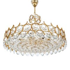 "Exceptional 28"" Palwa Gilded Brass  Glass Chandelier image 2"