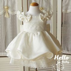 Formal beige newborn baby girls dress bow baptism christening party flower girl dresses clothing for infant princess dress 80481