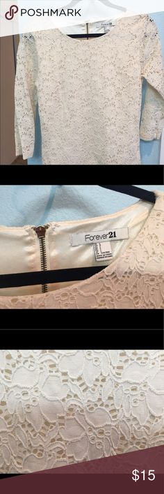 Forever 21 Cream Lace Top Really pretty cream lace top. Forever 21 Tops Tees - Long Sleeve