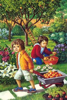 Solve Picking Apples jigsaw puzzle online with 40 pieces Autumn Activities, Preschool Activities, Country Scenes, Picture Story, Abstract Photography, Vintage Images, Children Photography, Storytelling, Art For Kids