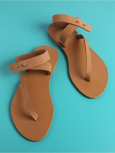 Tan Leather Ankle Strap Flats
