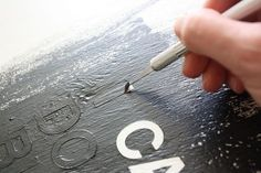Good DIY tips on how to paint lyrics or words on canvas. Perfect for my last pin! Except with a loose cursive font.