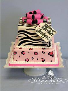 Pink Zebra & Cheetah Print present cake | Blue Note Bakery - Austin, Texas