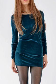 Long Sleeve Velvet Dress In Aqua