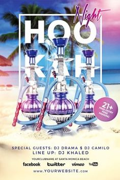Hookah_Night_Flyer_Template Free Flyer Templates, Club Flyers, Special Guest, Flyer Design, Photoshop, Night, Party, Window, Brochure Design