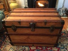 Antique Refinished Trunk 1900u0027s Made By Henry Likely Trunk Company,  Rochester, NY   True Flat Top Trunk