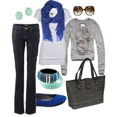 teal & royal blue, created by htotheb on Polyvore maybe not the cardigan im not much of a firills person but the rest is HOT