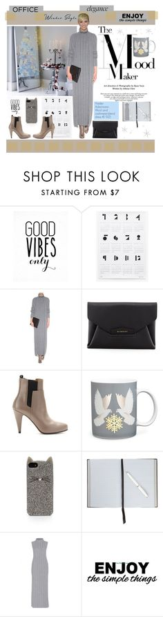 """""""Warm and Simple: The Sweater Dress"""" by yours-styling-best-friend ❤ liked on Polyvore featuring WALL, Haider Ackermann, Givenchy, Balenciaga, Kate Barnett, Kate Spade, Smythson, Cyrus and sweaterdress"""