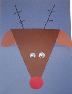Reindeer craft to teach shapes. Hand print antlers!