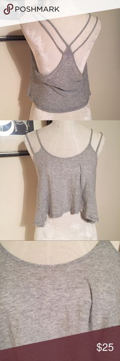 LF Emma & Sam Silver Metallic Crop Tank Lurex Cute and in excellent condition. 50/50 rayon/ lured. Size XS LF Tops Crop Tops