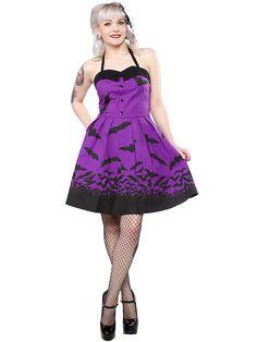 "Women's ""Spooksville Bats"" Dress by Sourpuss Clothing (Purple)"