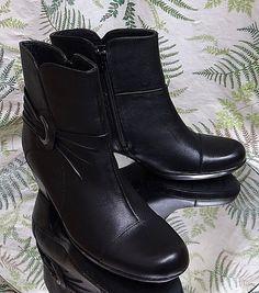 ad3997d6c CLARKS BLACK LEATHER FASHION DRESS ANKLE BOOTS SHOES ZIP SIDE US WOMENS SZ  8 M