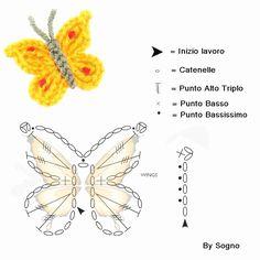Crochet Butterfly - Chart ❥ 4U // hf