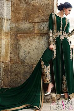 Alluring Green Achkan Style Faux Georgette Suit  http://www.fashionfemina.com/catalogs/miraculous-wedding-special-salwar-suit-collection/ #party wear salwar suit, #anarkali suit #designer Suit #wedding collection #heavy salwar suit #embroidery salwar suit #women dresses #latest fashion suit #wedding 2016 salwar suit