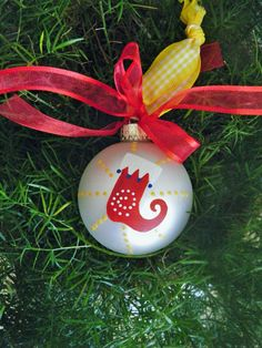 Hand Painted Ornament Christmas Stocking  Baby's 1st