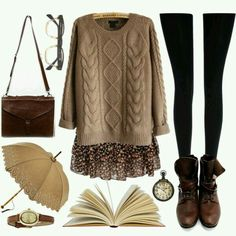Vintage / nerdy chic / casual comfy outfit idea for Fall / Winter. G;)