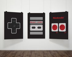 "Nintendo Controller 8""X10"" Instant Download 3pcs Set Nintendo Art Geek Chic NES Controller print Geeky Nordic Print Retro Video Game"