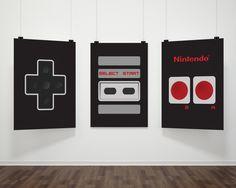 "Nintendo Controller 8""X10"" Instant Download 3pcs Set Nintendo Art Geek Chic NES Controller print Geeky Nordic Print Retro Video Game"