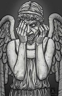 31 days of halloween 5 of 31 weeping angel doctor who 31 Days Of Halloween, Halloween 2014, Music Album Covers, Don't Blink, Bad Wolf, Disney Fan Art, Horror Art, Art Music, Doctor Who