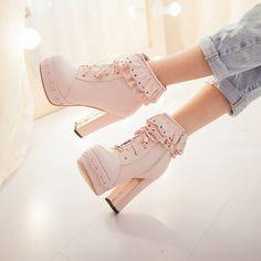 Japanese sweet lolita short boots