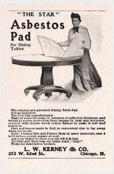 HOUSEHOLD: L.W. Kerney & Co. Asbestos Pad for Dining Tables, 1909...seemed like a good idea at the time