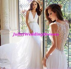 Bohemian wedding dress V neck cleavage Ivory by Juliethoneybridal
