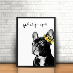 French Bulldog Shabby Chic Floral Wreath Black and White Frenchie Bull Dog 8x10 Print Printable Digital Instant File Download Wall Art Decor by MSdesignart on Etsy