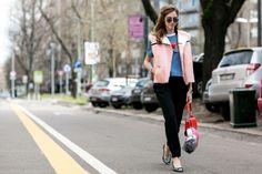 Blogger Chiara Ferragni in a Fendi pre-fall 2015 vest and bag bug. Photo: Imaxtree