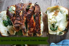 Spinach and Feta Pull Apart Garlic Brea via @bakeaholicmama