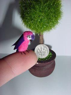 "Dollhouse Miniature ""Princess Macaw"" By CDHM Artisan June Girardi of Junes Minis, www.cdhm.org/user/tropicaltree"
