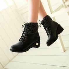USD14.99Winter Round Toe Wedge Mid Heel Lace Up Ankle Black Martens Boots