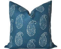 Peter Dunham Kashmir Paisley Pillow Cover in Indigo Blue, Decorative Throw Pillow, Lumbar Pillow, Throw Pillow, Accent Pillow