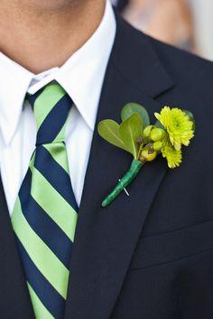 love navy suit, white shirt, blue/green tie