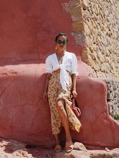 Faithfull The Brand: Olivia Lopez wears a tie-front top and wrap skirt from Faithfull The Brand Summer Vacation Outfits, Spring Outfits, Holiday Fashion, Holiday Outfits, Olivia Lopez, Streetwear, First Day Of Summer, Summer Days, Top Les
