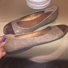Sparkling gold glitter flats Need shoes for your New Years party? Sparkling gold glitter flats. Has small scratch (from moving) on front as pictured. Only worn once. 11WW. Perfect for the holidays Shoes Flats & Loafers