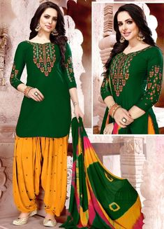 Dark Green Color Glaze Cotton With Embroidery Work Party Wear Patiyala Suit Description : Incorporating out-of-the box touches, this charming dark green color patiyala salwar suit. Crafted of glaze cotton with embroidery work, this suit comes with Patiala Salwar Suits, Salwar Dress, Punjabi Dress, Punjabi Suits, Anarkali, Womens Dress Suits, Suits For Women, Women Wear, Cotton Suit