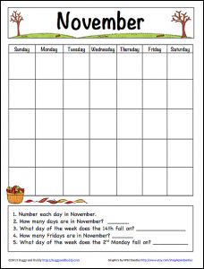 November Learning Calendar Free Printable