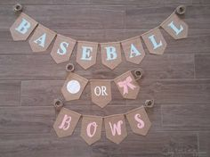 Baseball or Bows Gender Reveal Baseball or Bows Banner Baseball Gender Reveal, Twin Gender Reveal, Gender Reveal Themes, Gender Reveal Decorations, Gender Party, Baby Gender Reveal Party, Baby Boy Cards, Baby Boy Pictures, Baby Banners
