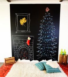 10 Sustainable Christmas Tree Alternatives That Will Make You Want to Leave Real Trees in the Forest Diy Felt Christmas Tree, Christmas Makes, Winter Christmas, Christmas Decorations, Holiday Decor, New Years Tree, Alternative Christmas Tree, Christmas Chalkboard, Diy Wall Decor