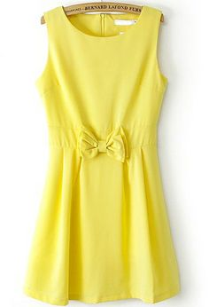 Yellow Round Neck Sleeveless Bow Pleated Dress US$23.88
