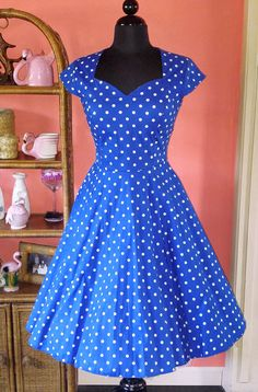 Polka Dot Sweetheart Swing Dress, Royal Blue
