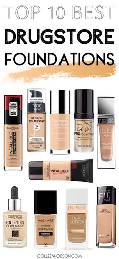 Finding a great affordable foundation at the drugstore doesn't have to be so overwhelming. Check out our list of The 10 Best Drugstore Foundations in Full Coverage Drugstore Foundation, Top Foundations, Revlon Colorstay Foundation, Makeup Tips Foundation, Best Foundation, Powder Foundation, Best Drugstore Makeup, Best Makeup Products, Makeup Products