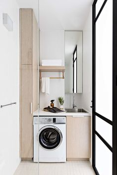Small but mighty! This compact terrace renovation pairs Japanese-inspired minimalism with contemporary living and clever. Compact Laundry, Laundry Storage, Laundry Cupboard, Laundry Room Design, Laundry In Bathroom, Laundry Room Inspiration, Box Houses, Clever Design, Bathroom Interior