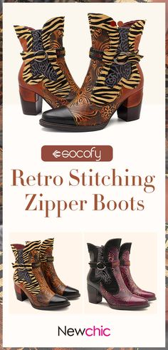 51013f0eb Socofy SOCOFY Handmade Cow Leather Splicing Retro Flower Pattern Buckle  Stitching Zipper Boots is hot-sale. Come to NewChic to buy womens boots  online.