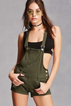 Shop Forever collection of trendy women's overalls and coveralls. Browse pinafore dresses, denim overalls, overall shorts, and more! Denim Overall Shorts, Ripped Shorts, Overalls Outfit, Overalls Women, Denim Overalls, Short Overalls, Distressed Denim Shorts, Safari Outfits, Army Green Shorts