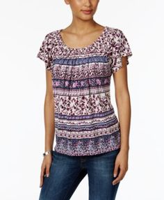 f431463c4c2 Style   Co Printed Pleat-Neck Top
