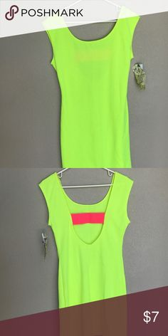 NEW Neon yellow bodycon dress Open back with a neon pink slit in back Charlotte Russe Dresses